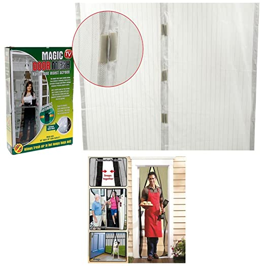 WHITE MAGNETIC INSECT DOOR CURTAIN WASP FLY BUG MOSQUITO NET MESH DOOR  SCREEN
