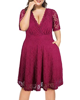 7198fb906aedda Womens Plus Size Lace Pocket Dress with Sexy V Neck Stretchy Half Sleeves  Party Cocktail Wedding