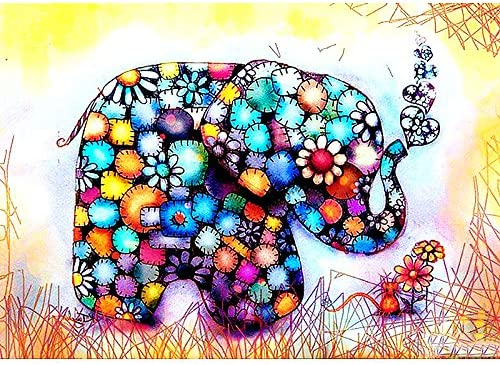 Animal Series Elephant Full Drill Painting with Accessories LynnArty 5D Diamond Painting Clearance 13.8x17.7 inch M724 Perseverance Cultivate Patience