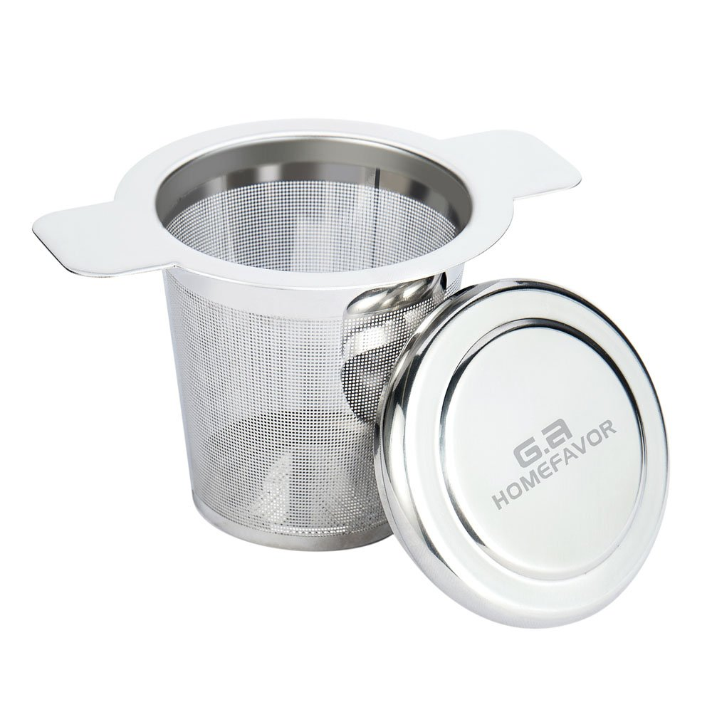 G.a HOMEFAVOR Tea Filter FDA Approved 304 Stainless Steel Tea Infuser Mesh Strainer with Lid and Handle