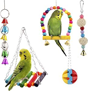 SunGrow Bird Swing Toy Set, Colorful Collection of Bells, Wood, Plastic and Rattan Balls, Includes Perch and Hammock, Suitable for Parrots, Parakeets, Cockatiels, Conures, and More, 5 Pack