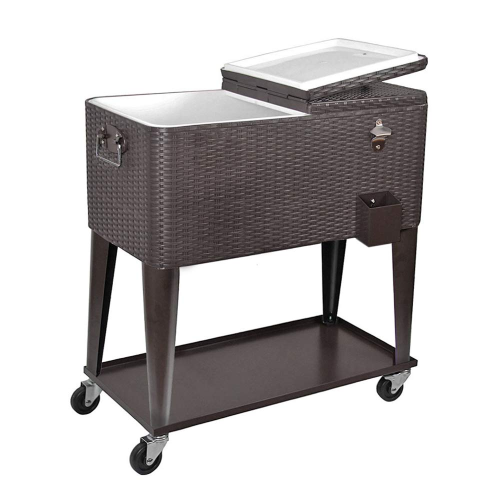 Clevr 80 Quart Qt Rolling Cooler Ice Chest Cart for Outdoor Patio Deck Party, Dark Brown Wicker Faux Rattan Tub Trolley, Portable Backyard Party Drink Beverage Bar, Wheels with Shelf & Bottle Opener by Clevr