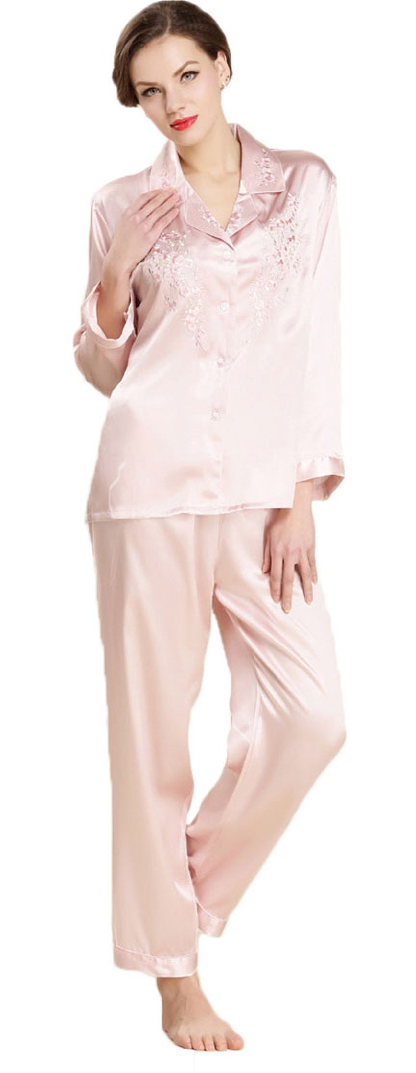 Women's Pure Mulberry Silk Pajama Set Embroidered Classic Luxury Sleepwear oufen M