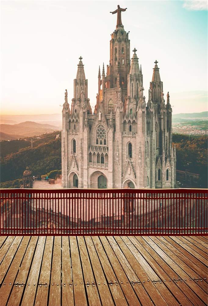 LFEEY 5x7フィート ヨーロッパバルセロナ サグラット コー 写真 背景 スペイン アーバン シーン シティ ランドマーク 建物 教会 写真 背景 木板 床 ポートレート 写真ブース用小道具   B07GDF4FDL