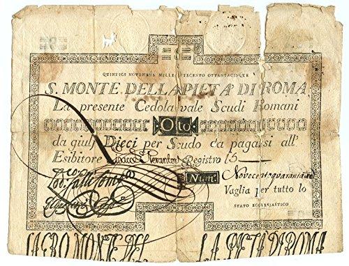 Cartamoneta  8 Scudi CEDOLA Sacro Monte della PIETÀ di Roma 15 11 1785 MB BB