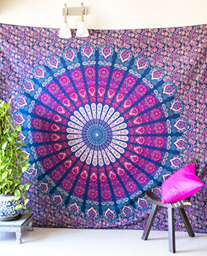 Folkulture Peacock Parade Bohemian Tapestry Hippie Wall Hanging, Indian Mandala Bedspread for Bedroom, Blue Bedding Blanket or College Dorm Room Art Décor, Queen Size Cotton Pink Purple Boho ()