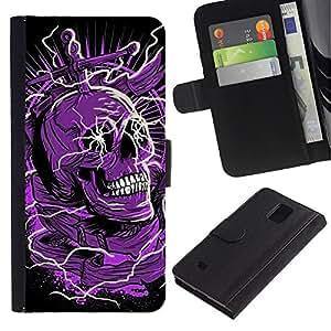 KLONGSHOP / Tirón de la caja Cartera de cuero con ranuras para tarjetas - Skull Purple Black Death Electric Dead - Samsung Galaxy Note 4 SM-N910