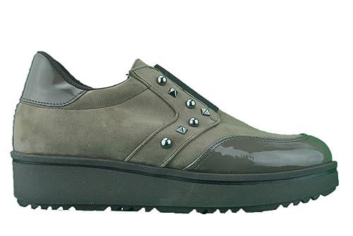 Mocassini sneakers  scarpe basse slip on taupe tortora Made in Italy