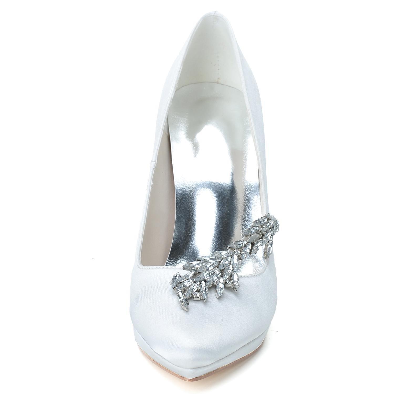 Elobaby Chaussures de Mariage Pour Femmes K0255-24 Court Taille Dames Hauts Talons Paillettes Robe Fermée Orteils, Blanc, 36