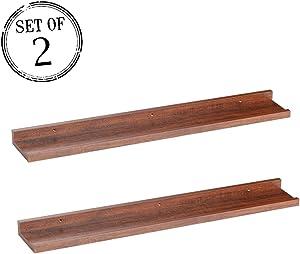 "O&K Furniture Modern Style Espresso-Teak Floating Wall Shelves CD Book Display Storage Unit 31.5"" Length, Set of 2"