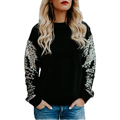Anxinke Women Casual Sequin Patchwork Long Sleeve Black Crew Neck Blouse