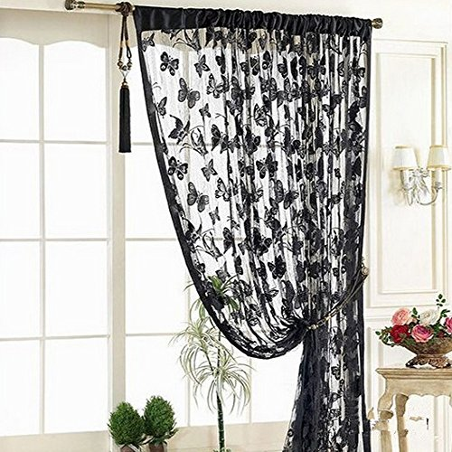 YING LAN String Butterfly Door Window Curtain Drapes Divider Room Blind Shades Tassel Treatment Black