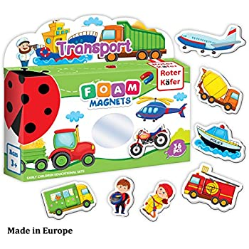 Roter Kafer Refrigerator Magnets for kids VEHICLES & PROFESSIONS (36 pcs) - Fridge Magnets for Toddlers activity - Educational Kids magnets - Toddler magnets - Baby Vehicle Magnets - Shape Magnets