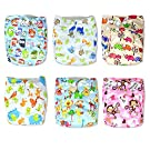 Trendy Owl Print Cloth Pocket Diapers 6 Pack with 12 Inserts | Strong Absorbent Material with Breathability | Leg Gussets against Leaks | Size Adjustable | Nice Baby Shower Gift