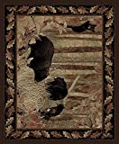 Rug Empire Rustic Lodge, Bear Cubs Area Rug, 5'3″ W X 7'3″ L, Black