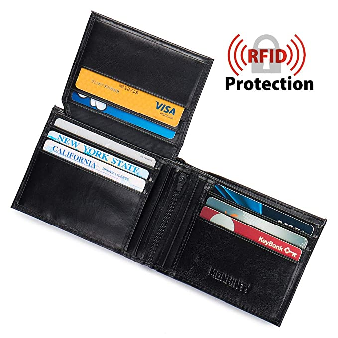 fa75fc1697ce RFID Blocking Wallet For Mens Italian Vintage Genuine Leather Bifold Wallets  With 2 ID Windows &