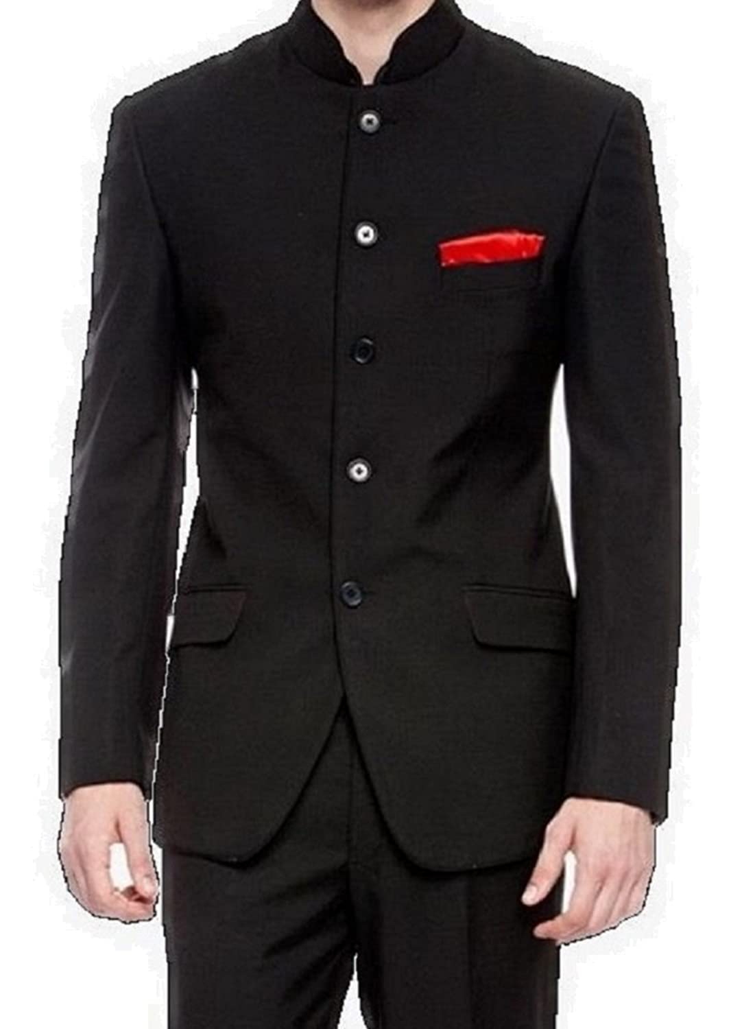 MENS BLACK NEHRU GRANDAD COLLAR SUIT IDEAL FOR WEDDINGS: Amazon.co ...