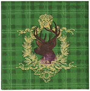 Paperproducts Design 3251010 Beverage Cocktail Napkin, 5 by 5-Inch, Luxe Lodge Deer Green Plaid