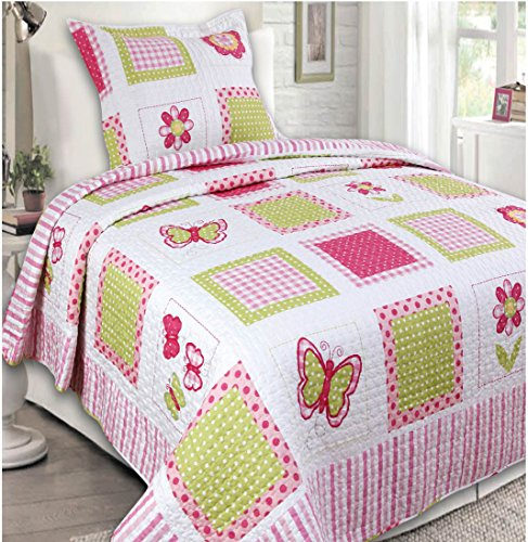 Mk Collection 2 Pc Bedspread Teens/girls Pink Yellow Butterfly Floral New (Bedspreads Girl Sale)