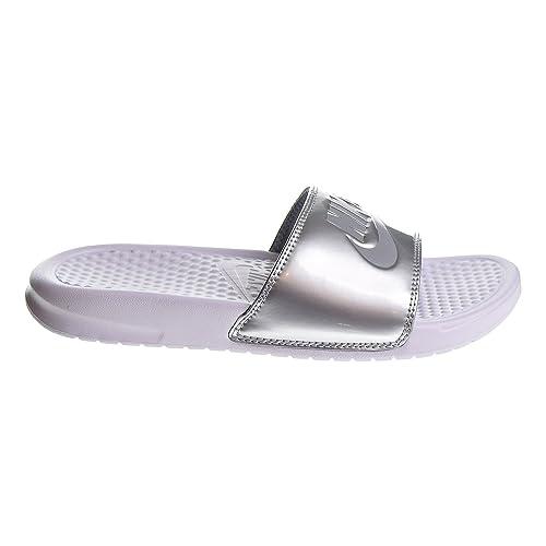 2743c31b9989 NIKE Womens Benassi JDI Sandals White Wolf Grey 343881-107  Amazon ...