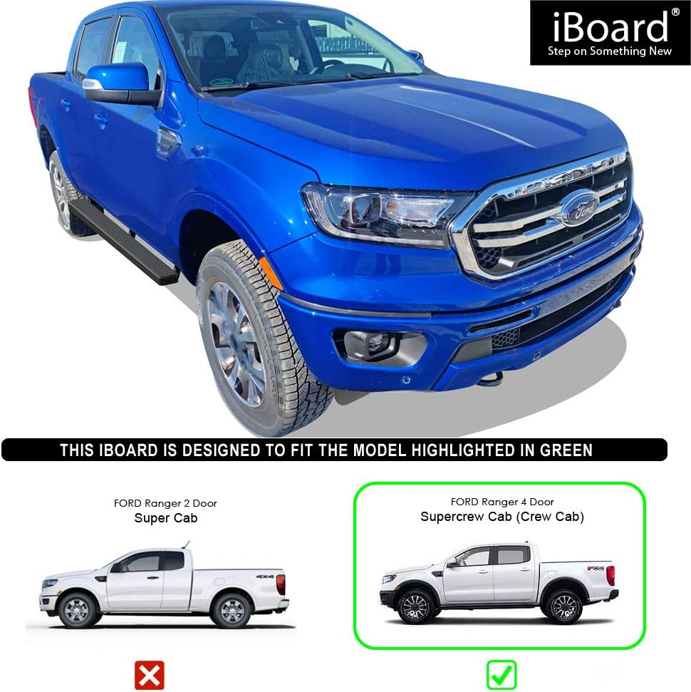 Black Powder Coated 4 inches Nerf Bars Side Steps Step Bars APS iBoard Running Boards Compatible with 2019-2020 Ford Ranger SuperCrew Cab Pickup 4-Door