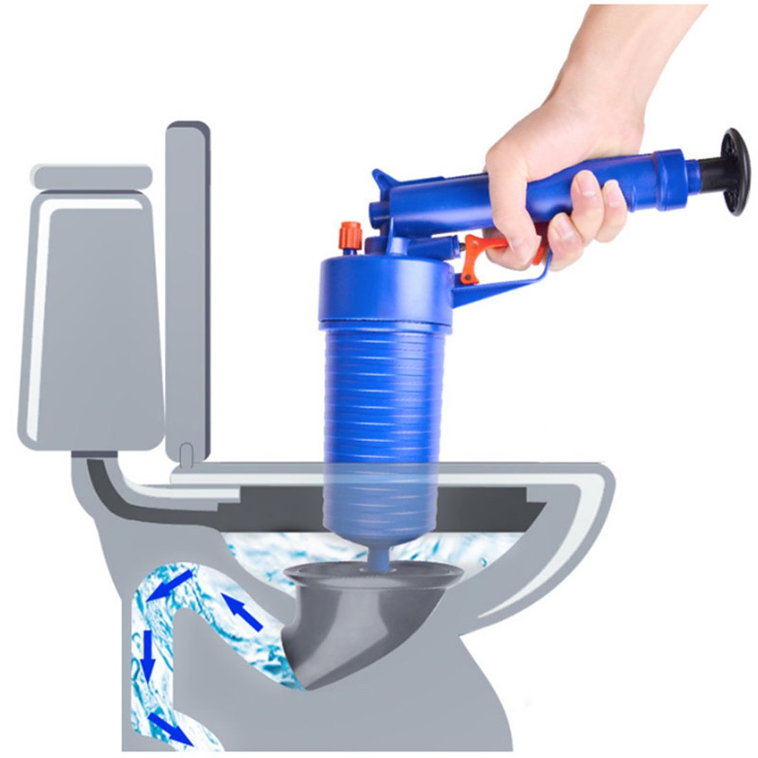 Verus Air Power Drain Blaster Gun, High Pressure Powerful Manual Sink Plunger Opener Cleaner Pump for Bath Toilets, Bathroom, Shower, Kitchen Clogged Pipe Bathtub