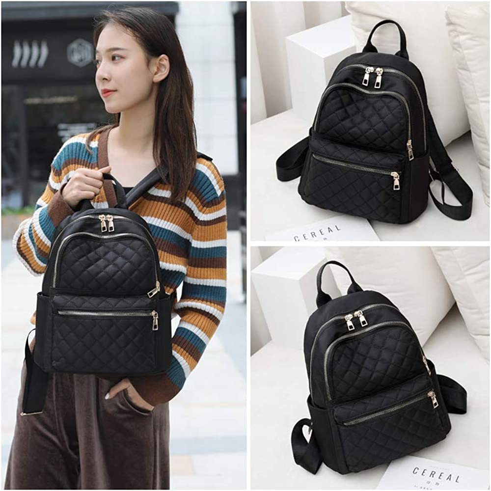 Fashion Women Black Twill Oxford Cloth Backpack Quilted Nylon Lightweight travelling Rucksack for Women and Girl Medium