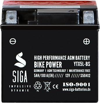 Motorrad Batterie Ytx5l Bs Agm Gel 5ah 12v 100a Elektronik