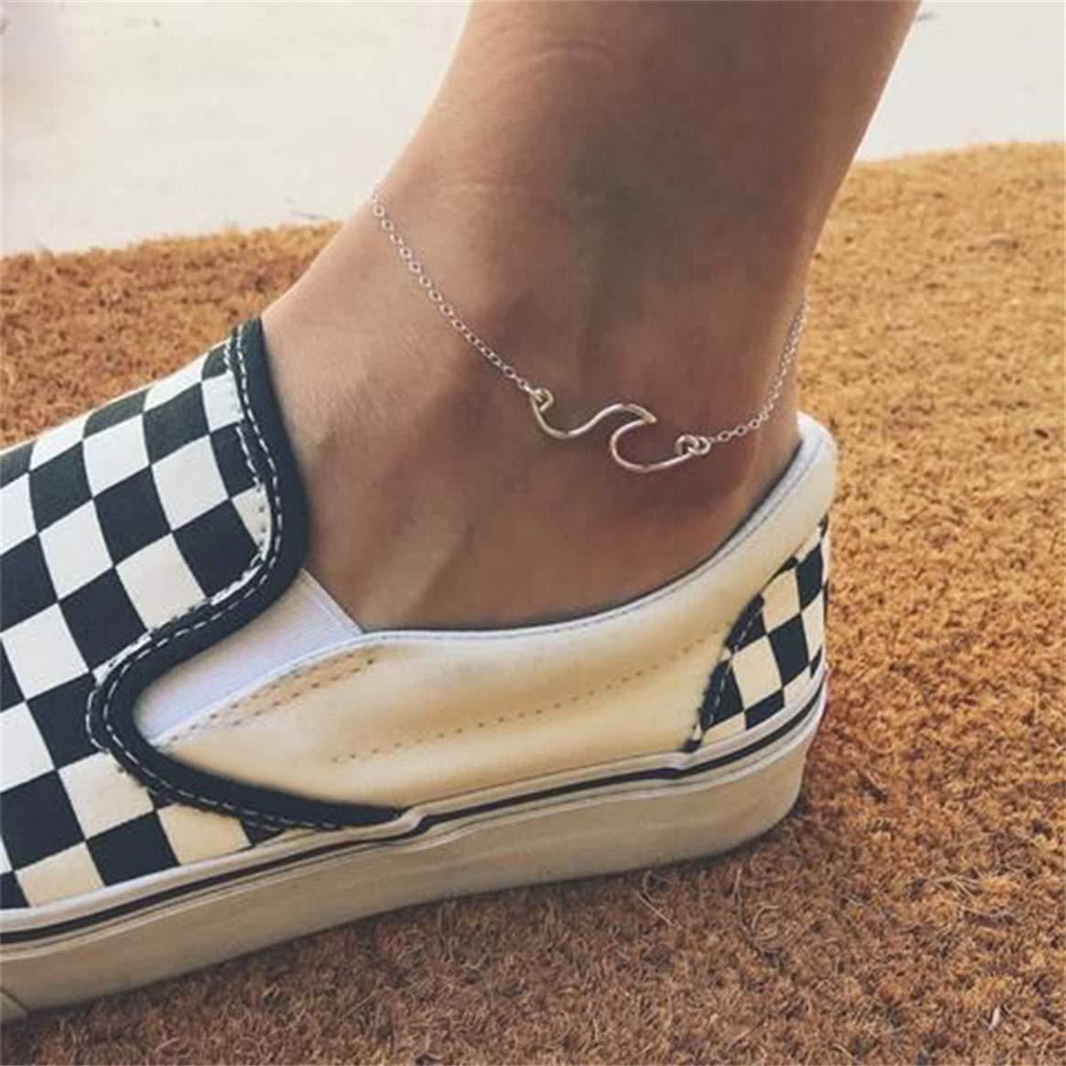 Botreelife Vintage Silver Color Women Wave Anklet Boho Style Bracelets Beach Foot Jewelry Silver