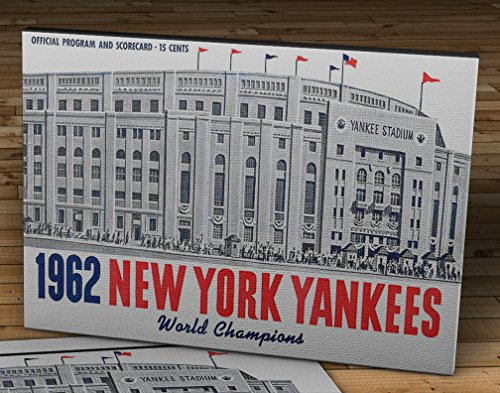 Yankee Stadium Wood - 1962 Vintage New York Yankees - Yankee Stadium - World Champions Program - Canvas Gallery Wrap - 16 x 10