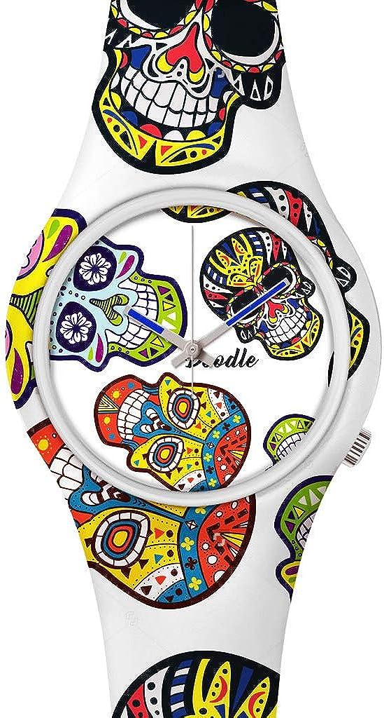 DOODLE Watch DOCA002 - Reloj de Pulsera para Hombre (39 mm de diámetro, Silicona), diseño de Calavera Blanca