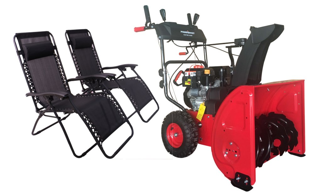 DB72024PA 24'' 2-Stage Electric Start Gas Snow Blower with Power Assist with Free 2 Black Zero Gravity Chairs