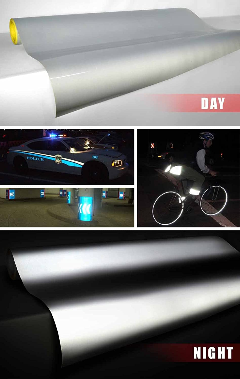 6 Sheet Pack 3M Vinyl 3M Silver White Reflective Vinyl DIY 12 x 16 Sheet Pack for Vehicle Wrapping