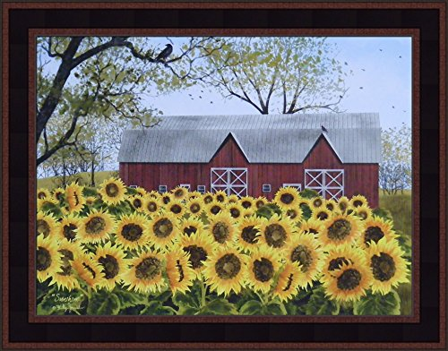 Sunshine by Billy Jacobs 15x19 Red Barn Farm Sunflowers Flowers Framed Folk Art Wall Décor (Folk Art Farm)