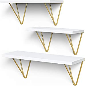 White Floating Shelves - Elegant Vanity Triangle Golden Metal Brackets Hanging Wall Shelves Set of 3 - Wall Mounted Shelf for Living Room, Bedroom, Kitchen by AMADA HOMEFURNISHING