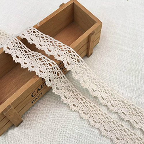 10 Yards Cotton Lace Trim Cotton Embroidery Ribbon Sewing Decorating & DIY Craft Supply 1-1/4