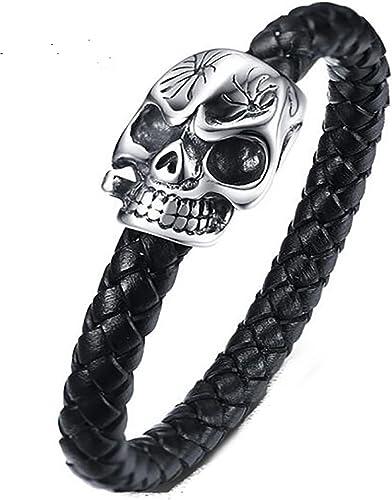 Gothic Black Leather Wristband Skull Unisex Bangle Charm Bracelet Necklace Set