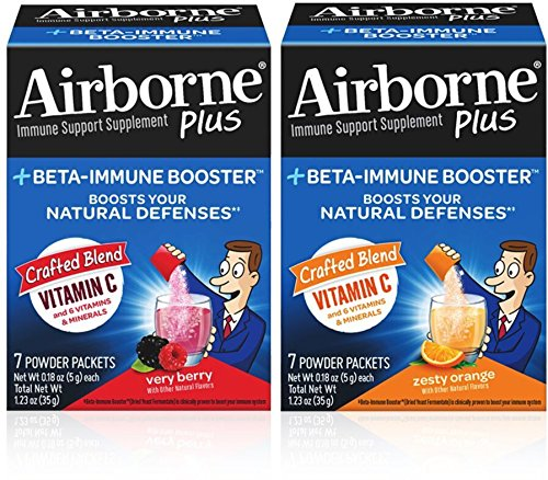 Airborne Plus Beta-Immune Booster, Zesty Orange 7 Ct Packets & Very Berry 7 Ct Packets, 1 ea