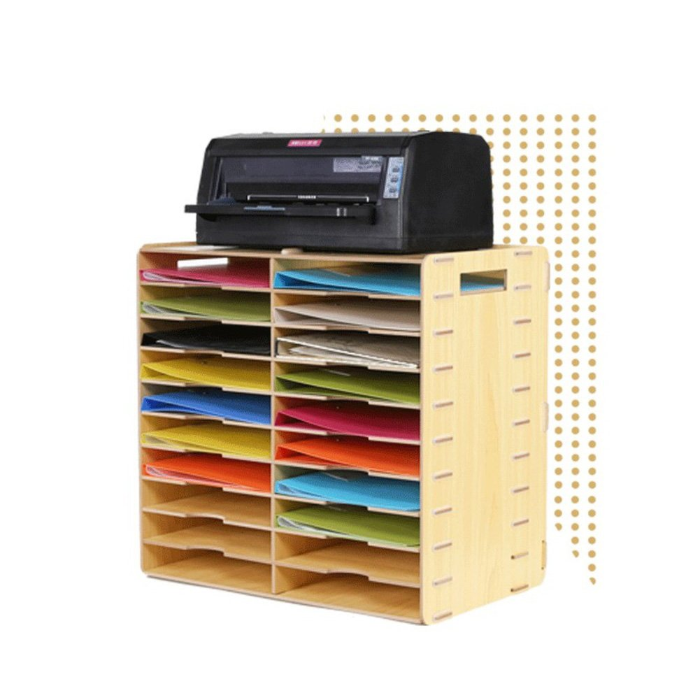 Wood magazine holder, Desktop storage rack File rack Desktop stationery storage box Books stand File folders Simple Houseware Office supplies-Beige 51.5x32.5x49cm(20x13x19inch)