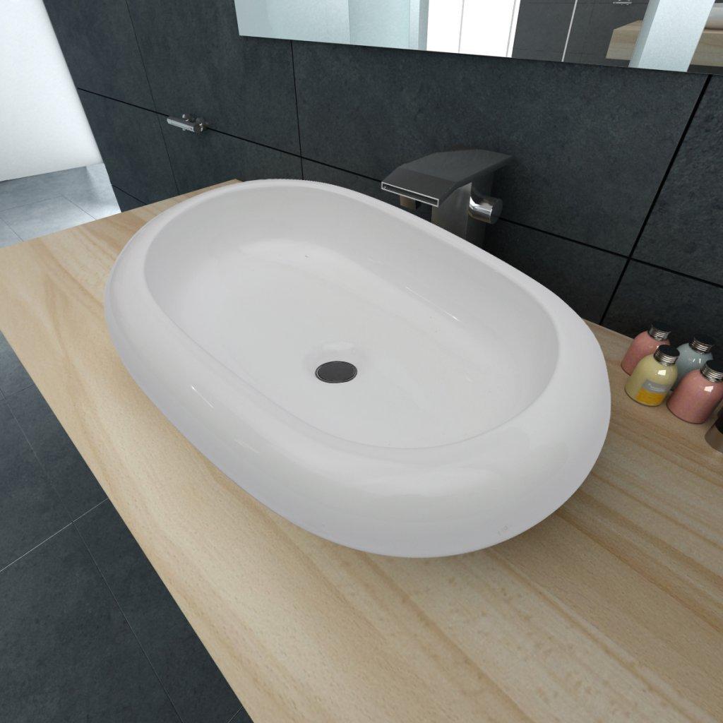 Festnight Luxury Ceramic Basin Oval-shaped Sink White 24.8'' x 16.5''