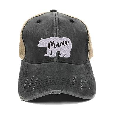 865c36c5141d7 Men s Womens Custom Distressed Trucker Hat Papa Or Mama Bear Embroidered  Baseball Cap (Black Tan Hat - Mama Bear) at Amazon Women s Clothing store