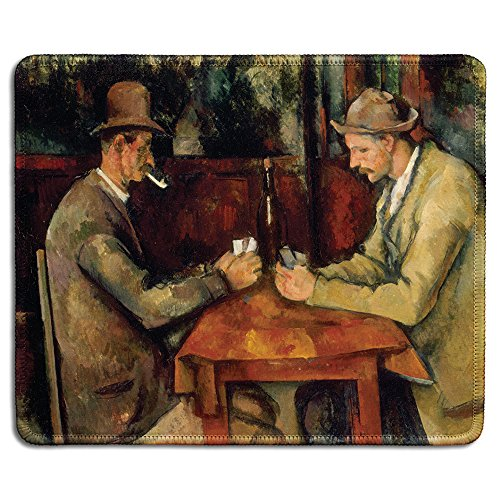 dealzEpic - Art Mousepad - Natural Rubber Mouse Pad with Famous Fine Art Painting of The Card Players I 1892 by Paul Cezanne - Stitched Edges - 9.5x7.9 inches