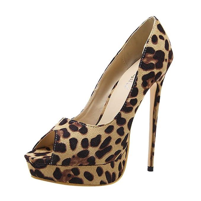 sale retailer 5f9c7 7c78a FRAUIT Sandali Estivi Donne Con Tacco Leopardati Scarpe ...