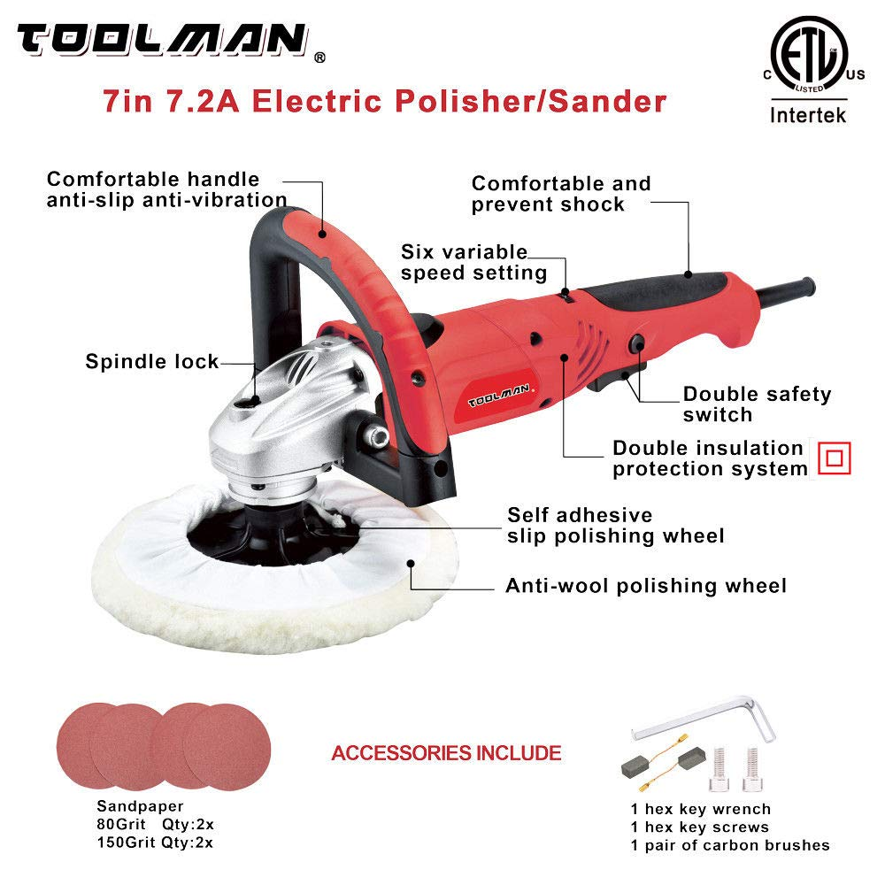 Toolman Compact Polishing Buffer Waxer Sander Machine 7'' W/ Wool pad & sandpaper works with DeWalt Makita Ryobi by TOOLSMAN (Image #2)