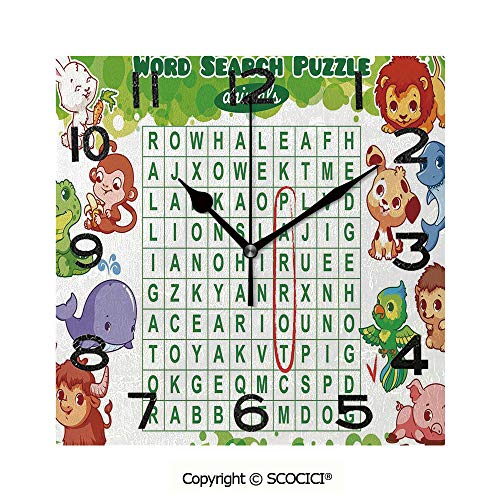SCOCICI Frameless Clock 3D DIY Decorative Clock Educational Game for Kids Decorated with Cute Animals Worksheet Print 8 Inch Large Size Square Wall Clock for Living Room Bedroom Office Hotel