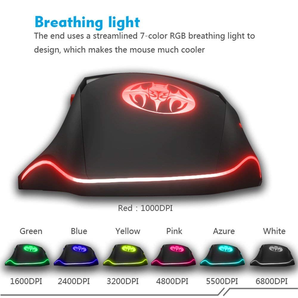 Teshiuck Wired Gaming Mouse With 8 Buttons6800dpi Wiring Diagram Optical Free Picture Along Buttons6800dpibreathing Backlit Ledusb Games Mice For Pc Computer Laptop Ps4 Macbook Mac Gamer