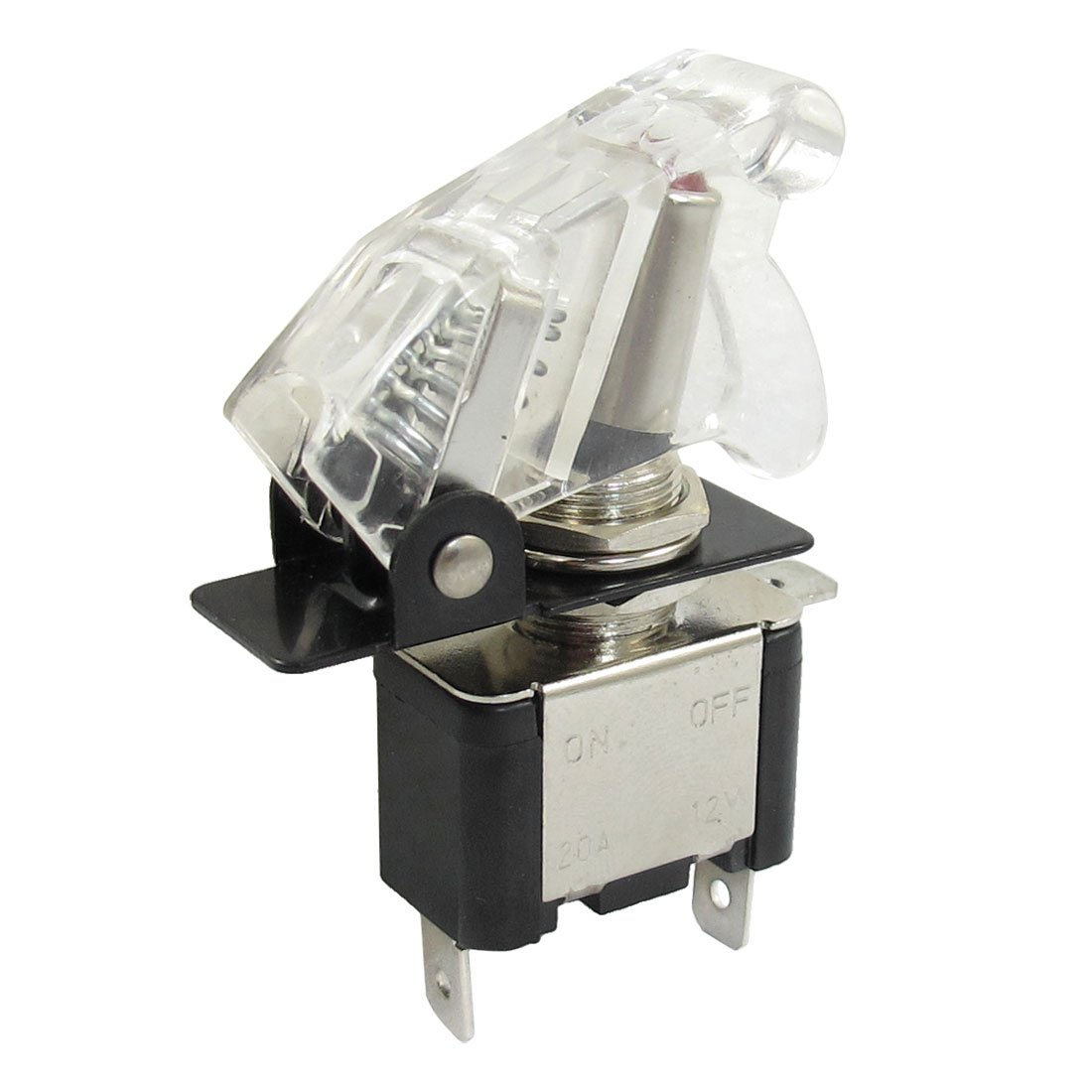 DC 20A 12V SPST 2 Position ON OFF Toggle Switch w Green Flipw w Clear Cap a13011000ux0134