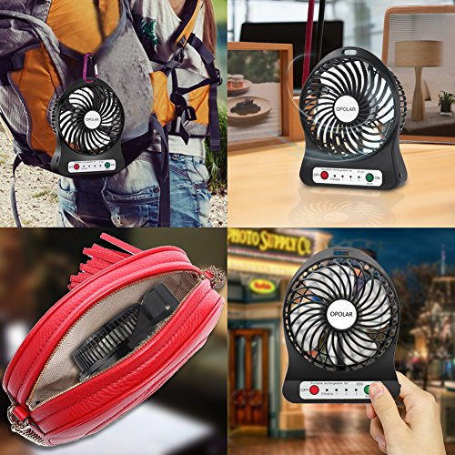 OPOLAR Rechargeable Handheld Mini USB Fan, Desk and Outdoor Fan,with 2200mAh Battery and Side Light-Black (3 Settings, 3.9ft Cable) for Travel, Home and Office-F101B Photo #7