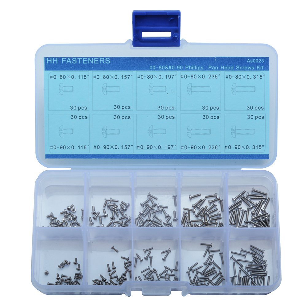 #0-80,#0-90 Phillips Pan Head Machine Screws Assortment Kit,10 Size (300 Piece),304 Stainless Steel,Full Thread by HH FASTENERS