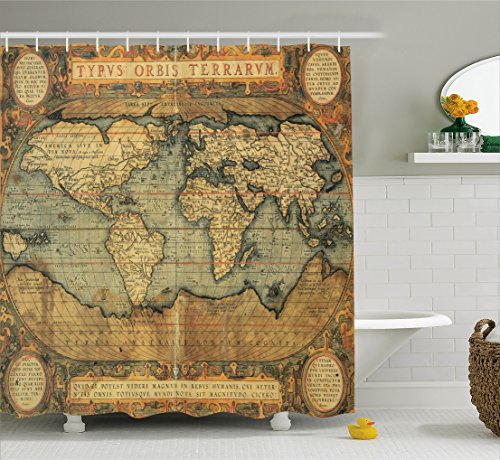 Ambesonne World Map Shower Curtain, Ancient Old Chart Vintage Reproduction of 16th Century Atlas Print, Fabric Bathroom Decor Set with Hooks, 75 Inches Long, Sand Blue